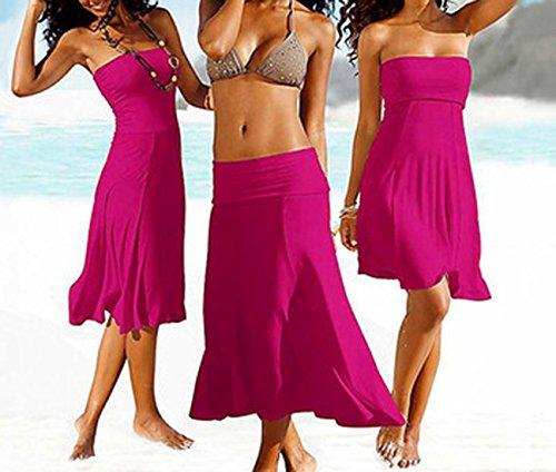 t Femmes Bandeau Midi Robes de Plage Casual Couleur Unie Bikini Cover Up Rose Rouge