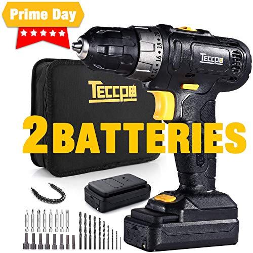 Cordless Drill, TECCPO 2pcs 2.0Ah Lithium-Ion Compact Drill Driver Set, 20+1 Position, 2-Speed Max Torque 240In-lbs, 3/8″ Chuck Max, 27pcs Accessories, LED Light – TDCD02P