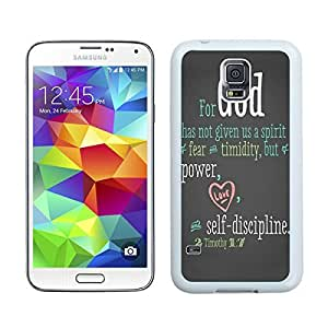 Custom Samsung Galaxy S5 Case Protective <Neo Hybrid> <Satin Silver> Slim Fit Dual Protection Cover for Galaxy S5 and Galaxy S5 Prime(2015)-Satin Silver,,Bible Quote Proverbs 31 25 She is clothed in strength and dignity and she laughts without fear of the futur 1 Samsung Galaxy S5 Case White Cover