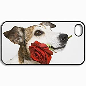 Customized Cellphone Case Back Cover For iPhone 4 4S, Protective Hardshell Case Personalized Dog Muzzle Rose Flower Black