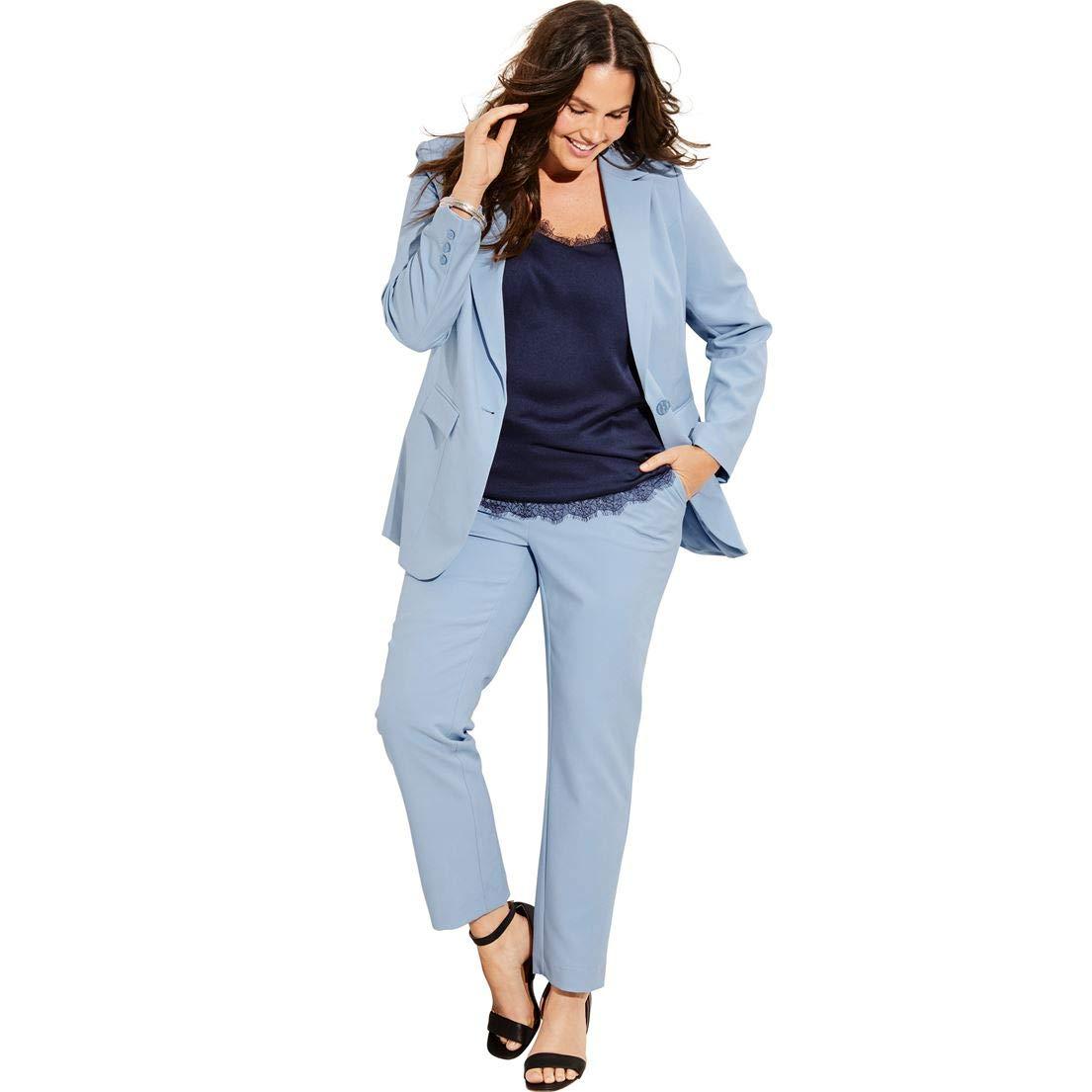 Roamans Women's Plus Size Straight-Leg Pantsuit with Blazer - Pale Blue, 20 W