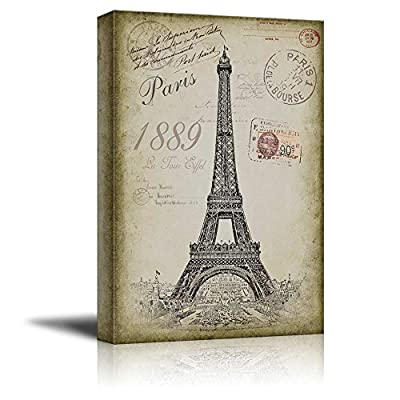 Sketching of The Eifel Tower with a Paris Themed Vintage Background - Canvas Art Home Art - 12x18 inches