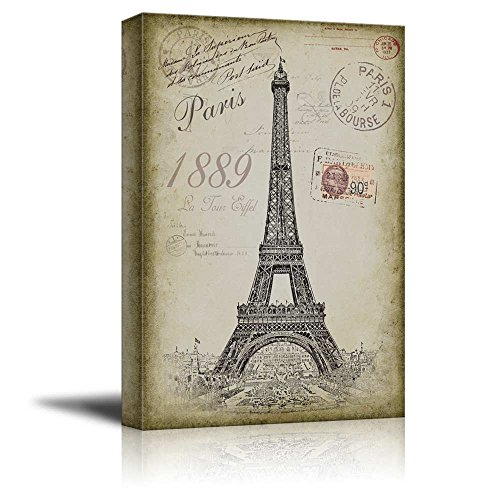 wall26 - Sketching of The Eifel Tower with a Paris Themed Vintage Background - Canvas Art Home Decor - 12x18 inches