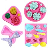 4 Pack Silicone Molds,YuCool 3D DIY Handmade Molds,Soap Clay Jelly Candy Chocolate for Baby Shower Party Cake Decoration-Rose,Daisy, Mermaid Tail,Seashell Shapes