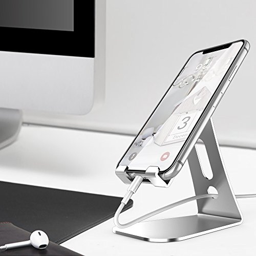 LK Desktop Cell Phone Stand, Dock, Cradle, Holder For Switch, all Smartphone, Kindle, Accessories, iPhone 6 6s 7 8 X Plus 5 5s 5c, Galaxy S9 Plus, iPad, Charging, Accessories Desk- Silver