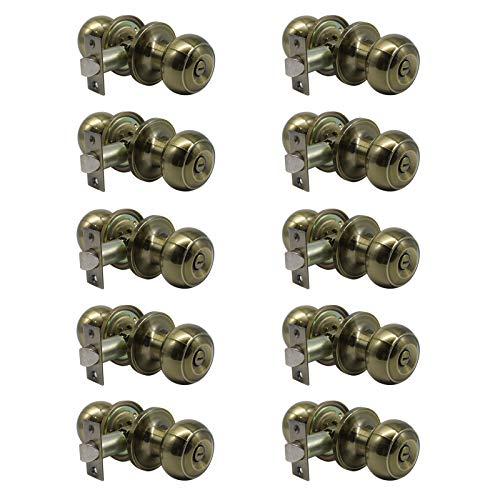 Probrico Privacy Door Knobs Lock Interior Bedroom Bathroom Door Handle Antique Brass Round Ball Keyless Lockset 10 Pack