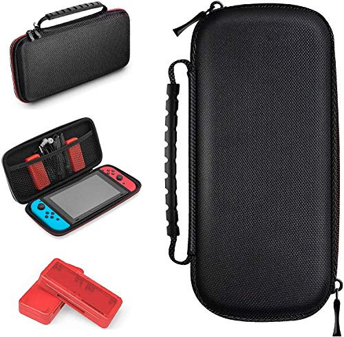TalkWorks Travel Case for Nintendo Switch Carrying Case Storage, Durable Dual Zippers, Rugged Handle, Side Pocket Divider Sleeve (Includes 2 Game Card Holder Cases - Holds up to 8 Game Cards)