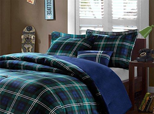 OSD 4pc Boys Navy Blue Green Madras Glen Plaid Theme Comfort