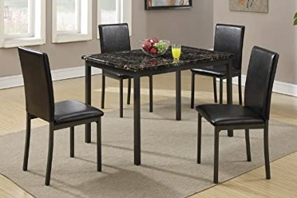 Poundex F2361 Dining Table With Black Marble Finished Top And 4 Chairs Multicolor