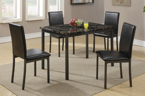 Poundex F2361 Dining Table with Black Marble Finished Top and 4 Chairs, Multicolor