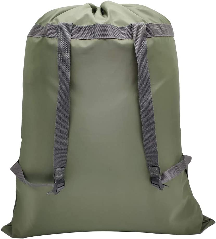"CALACH Extra Large Laundry Bag Backpack 27"" x 34"" Sturdy and Tear Resistant Polyester Backpack with Drawstring Closure and Shoulder Straps Machine Washable College Dorm Travel Laundry Bag (Army Green)"
