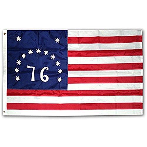 3x5 Ft Nylon Embroidered Bennington 76 American Flag