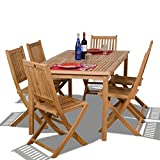 Cheap Amazonia Teak Prague 7-Piece Teak Rectangular Dining Set