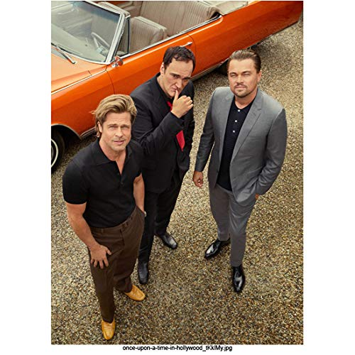 Brad Pitt 8 Inch x 10 Inch photograph Once Upon a Time. in Hollywood (2019) w/Quentin Tarantino & Leonardo DiCaprio All Looking Up kn
