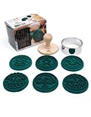 Marijuana Silicone Cookie Stamps, Stainless Steel Cookie Cutter, Wood Handle, Party Novelty Gift, 6 Stamp Set