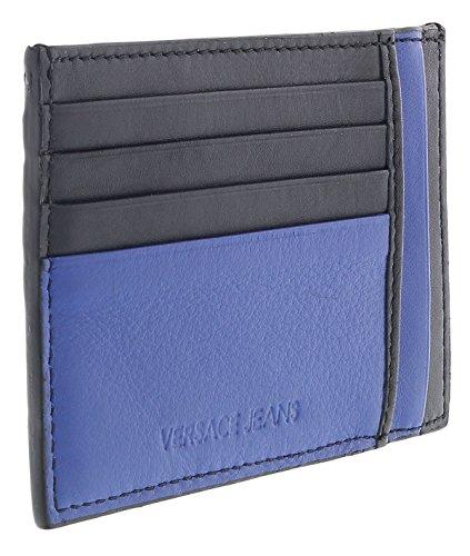 Versace EE3YRBPC4 Black/Royal Blue Card Holder Wallet for Mens
