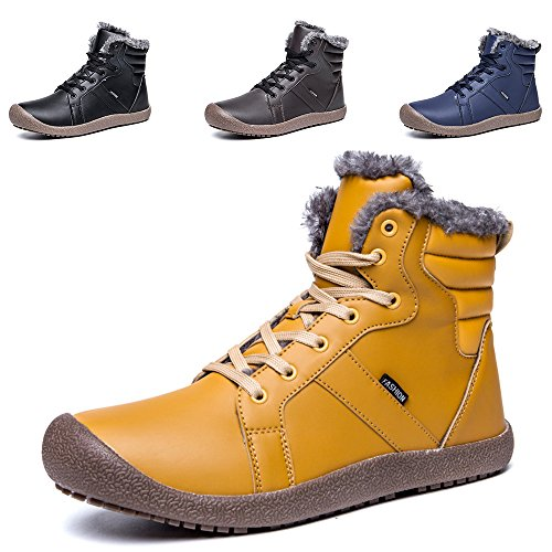 57c15bf838d77 Ankle Snow Boots, SITAILE Unisex Warm Lace Up Leather Waterproof ...