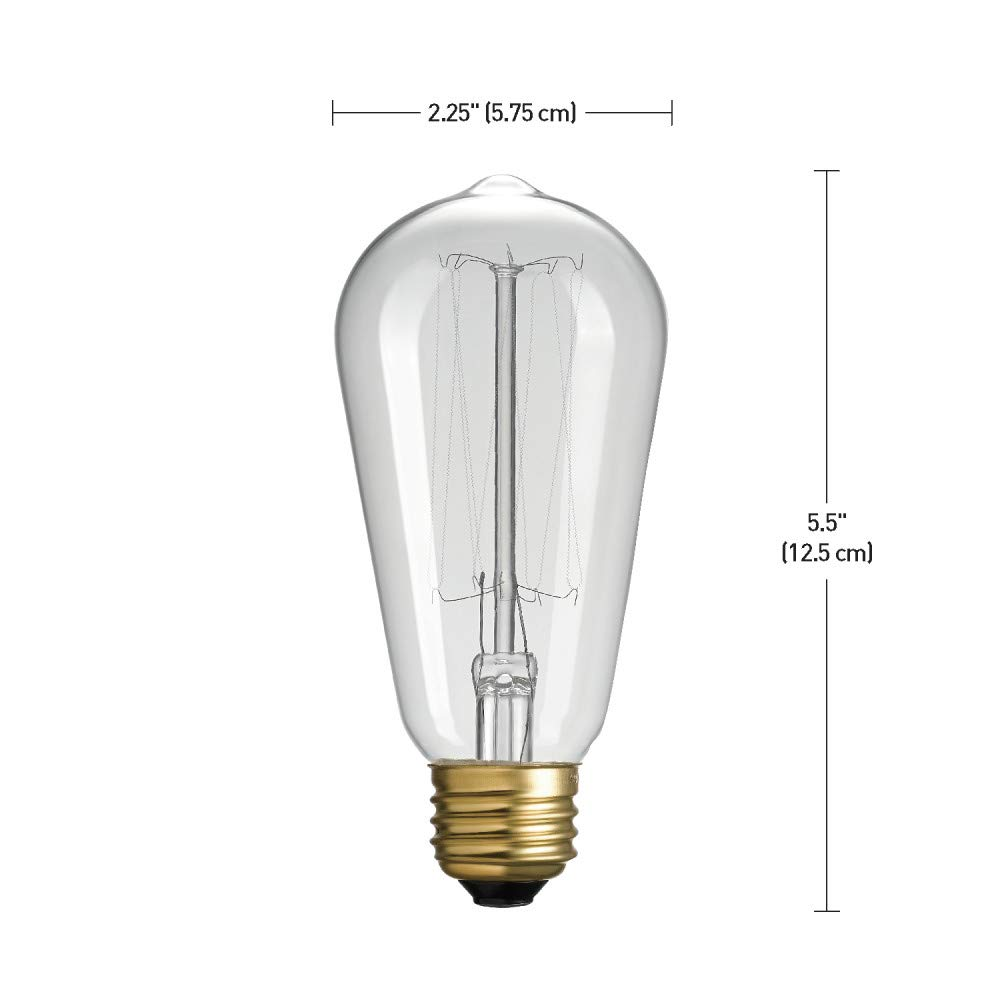 Globe Electric 40W Equivalent Soft White 2000K 1 Pack Vintage Edison B10 Candelabra Amber Glass Dimmable LED Light Bulb 31355 Clear