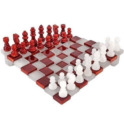 3 Dimensions rouge et blanc Albâtre Set D'échecs 24.1cm