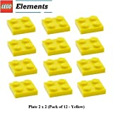 Lego Parts: Plate 2 x 2 (Pack of 12 - Yellow)