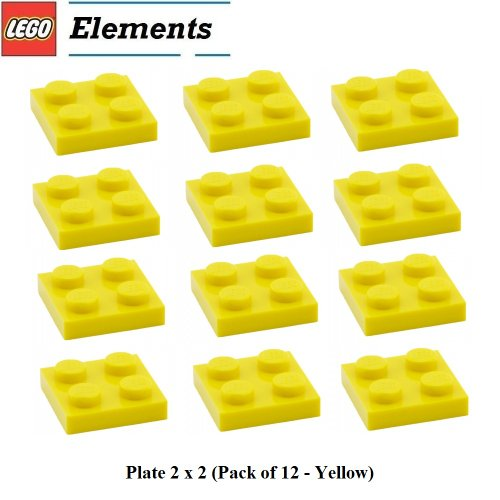 Lego-Parts-Plate-2-x-2-Pack-of-12-Yellow