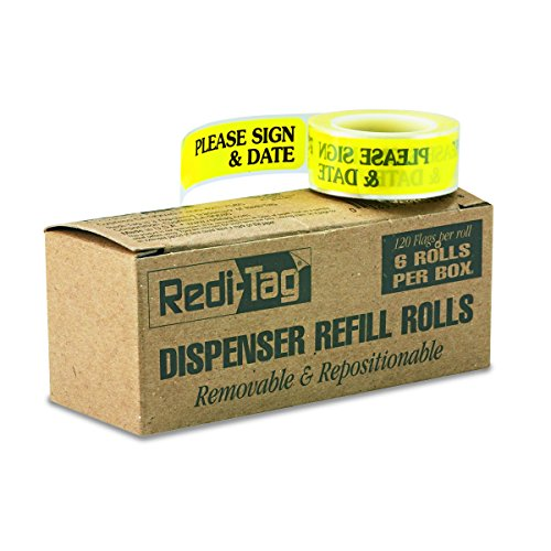 Redi-Tag 91032 Arrow Message Page Flag Refills, Please Sign & Date, Yellow, 120 per Roll (Box of 6 Rolls)