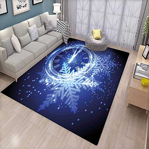 Clock Girls Rooms Kids Rooms Nursery Decor Mats Countdown to New Year Theme A Clock Holiday and Snowflakes Pattern Celebration Design Print Door Mat Indoors Blue