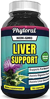 Phytoral Natural Liver Support Supplement Detox and Cleanse with Milk Thistle Extract Pure Silymarin Marianum and Dandelion Artichoke Yarrow Complex Non GMO and USA Made 60 Capsules
