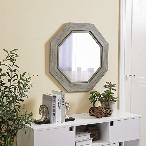 Naomi Home Octagon Wall Mirror with Metal Bezel Natural