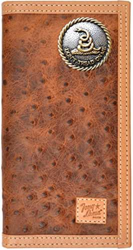 Custom Tony Lama Don't Tread On Me Ostrich Print Leather Wallet