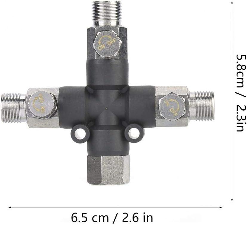 Conector en T con accesorios de conexi/ón de aer/ógrafo de metal ajustable de tres v/ías de 1//8 pulgadas para adaptador de compresor de aire