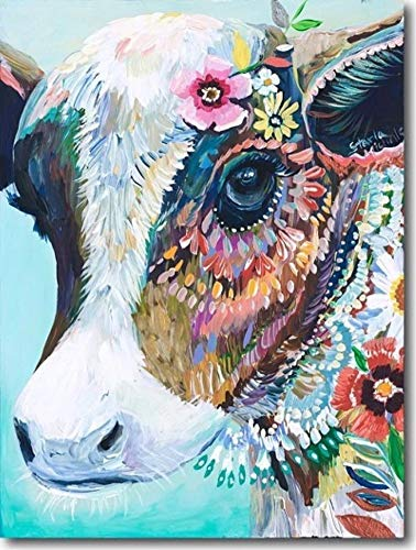 YEESAM ART DIY Paint by Numbers for Adults Beginner Kids, Colourful Cow with Flowers 16x20 inch Linen Canvas Acrylic Stress Less Number Painting Gifts