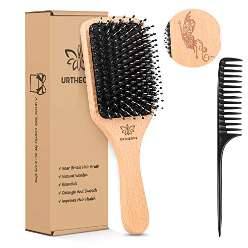 Hair Brush Boar Bristle Hairbrush for Thick Curly Thin Long Short Wet or Dry Hair Adds Shine and Makes Hair Smooth, Best Paddle Hair Brush for Men Women Kids