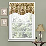 "valances window treatments  Kitchen Valances for Windows - Navarra 52"" x 16"" Short Curtain Valance Small Window Curtains Bathroom, Living Room and Kitchens, Antique"