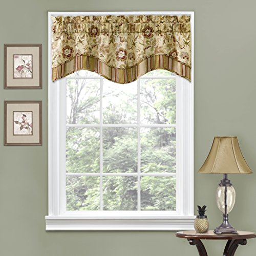 "Kitchen Valances for Windows - Navarra 52"" x 16"" Short Curtain Valance Small Window Curtains Bathroom, Living Room and Kitchens, Antique"