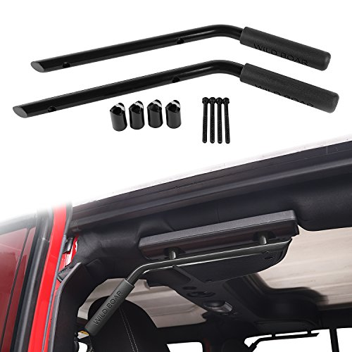 Voodonala Black Rear Grab Handles Roll Bar for 2007-2018 Jeep JK Wrangler Unlimited 4-Door (Aluminum Alloy)