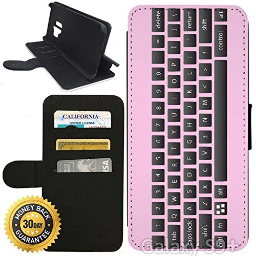 new arrival 9510b 36c84 Amazon.com: Flip Wallet Case for Galaxy S9 Plus (Pink Keyboard) with ...