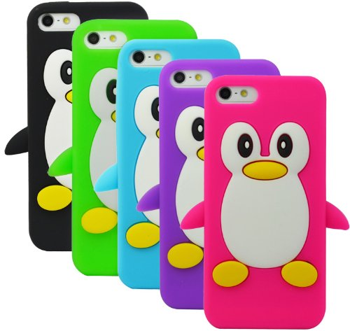 The Friendly Swede Penguin Soft Silicone Cases for iPhone 5S / 5 Bundle of 5