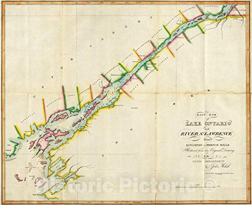 Historic Map - National Atlas - 1815 East End of Lake Ontario and River St Lawrence. - Vintage Wall Art - 54in x 44in (Map Of Lake Ontario And St Lawrence River)