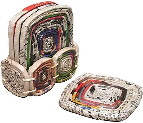Recycled Newspaper Coaster Set of four. New Home Gift Tableware Sustainable Gifts Handmade Gift Perfect for drink Mat