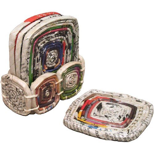 Set Of Four Recycled Newspaper Coasters With Holder 'Recycled Paper Coasters' ()