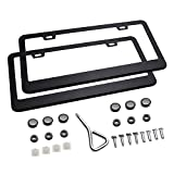 Ohuhu Matte Aluminum License Plate Frame with Screw Caps (2 Pieces) ()