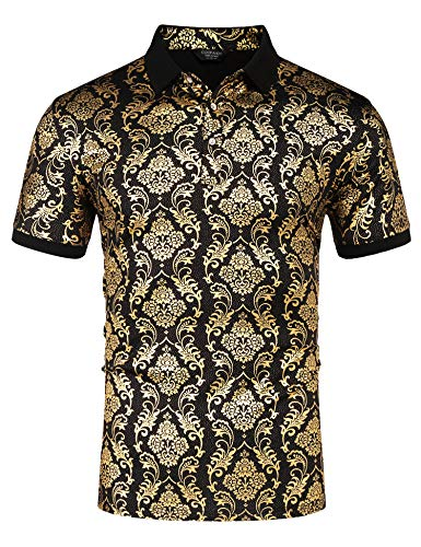 COOFANDY Men's Short Sleeve Luxury Shiny Printed Polo Shirt Prom 70s Disco Nightclub Party T-Shirts Gold -