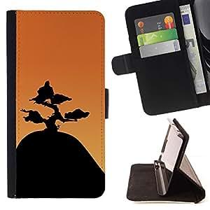 Momo Phone Case / Flip Funda de Cuero Case Cover - Montaña Bonsai;;;;;;;; - Samsung Galaxy A5 ( A5000 ) 2014 Version