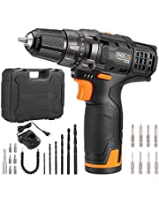 TACKLIFE 12V Cordless Drill Driver, 3/8' Metal Chuck,2 Speeds Compact Drill Set with 13pcs Accessories ,2000mAh Lithium Battery Pack and 1Hour Fast Charger,PCD01B