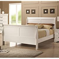 Coaster 204691F Louis Philippe 204 Sleigh Bed with Headboard Footboard and Side Rails & Slats in White Finish