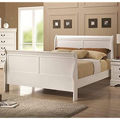 Coaster 204691F Louis Philippe 204 Sleigh Bed With Headboard Footboard And Side Rails Slats In White Finish