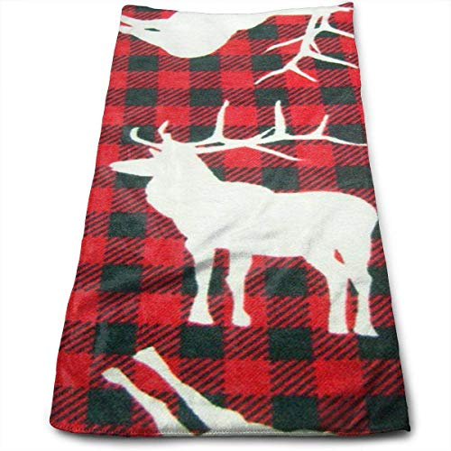(Deer Red and Black Plaid Multi-Purpose Microfiber Towel Ultra Compact Super Absorbent and Fast Drying Sports Towel Travel Towel Beach Towel Perfect for Camping, Gym, Swimming.)
