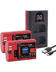 Baxxtar Pro (2X) zamiennik baterii Canon LP-E6 - Baxxtar Mini 1854 LCD Podwójna ładowarka (wejście USB-C i MicroUSB)