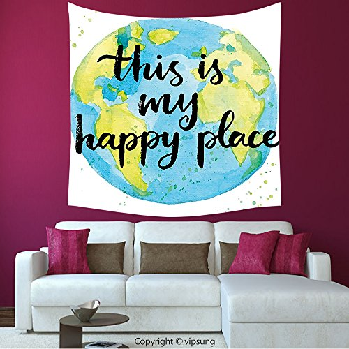 House Decor Square Tapestry-Quote Cartoon Like World Print In Blue And Green With This Is My Happy Place Lettering Multicolor_Wall Hanging For Bedroom Living Room Dorm